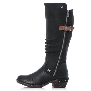 Rieker 93654-00 Black Womens Casual Evening Knee High Boots