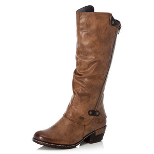 Rieker 93655-26 Brown Women's Zip Up Warm Fleece Lining Boots