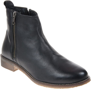Adesso 03168 Megan Black Womens Casual Comfort Leather Ankle Boots