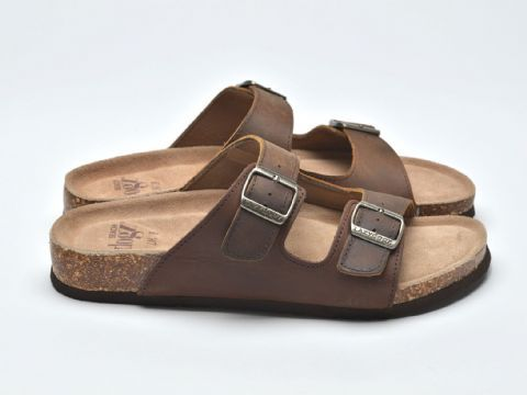 Beach Dogz Milo Brown Mens Casual Comfort Leather Slip On Sandals
