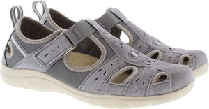 Earth Spirit Cleveland Frost Grey Womens Casual Touch Fastening Suede Shoes