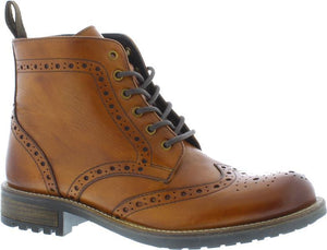 Country Jacks Leo Tan Mens Casual Leather Lace/Zip Up Brogue Ankle Boots