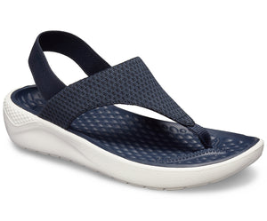 Crocs Literide Navy/White Mesh Flip Wedge Womens Comfort Sandals