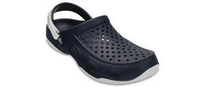 Crocs Swiftwater Deck Clog Navy/White Mens Roomy Fit Comfort Clogs