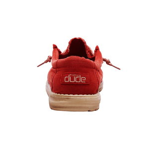 Dude Wally Washed Brick Casual Comfort Canvas Deck Shoes