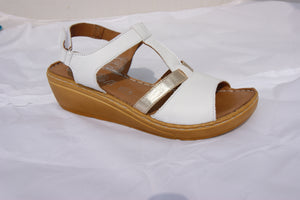 Roselli GEN-2886 White/Gold Womens Casual Stylish Open Toe Sandals