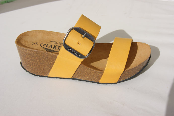 Plakton 273004 Alicante Hi Yellow Womens Casual Comfort Leather Sandals
