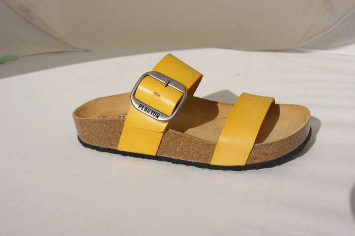 Plakton 343004 Alicante Mid Yellow Womens Casual Comfort Leather Sandals