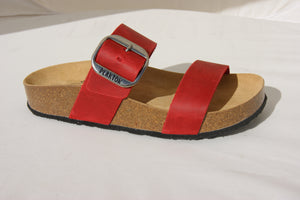 Plakton 343004 Alicante Mid Red Womens Casual Comfort Leather Sandals
