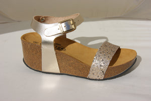 Plakton 273023 Shiny Gold Womens Casual Comfort Leather Sandals