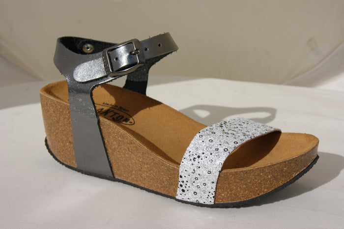 Plakton 273023 Shiny Pewter/White Womens Casual Comfort Leather Sandals