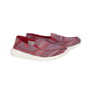 Dude Ava Red Ibiza Stripe Womens Slip On Relaxed Deck Canvas Shoes