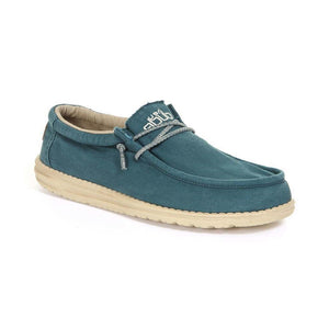 Dude Wally Washed Hydro Blue Casual Comfort Canvas Deck Shoes