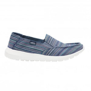 Dude Ava Blue Ibiza Stripe Womens Slip On Relaxed Deck Canvas Shoes