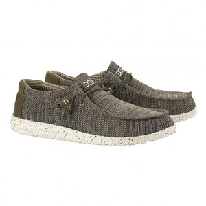 Dude Wally Sox Brown Men's Slip On Elastic Lace Knit Fabric Shoes