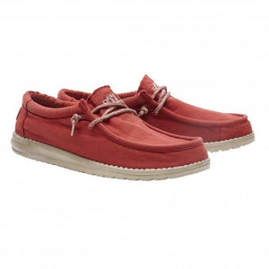 Dude Wally Washed Brick Mens Slip On Canvas Shoes