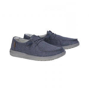 Dude Wendy Chambray Navy Women's Slip On Canvas Relaxed Fit Shoes