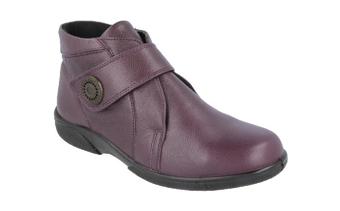 EasyB 78346W Doris Wineberry (4E) Womens Casual Comfort Leather Ankle Boots