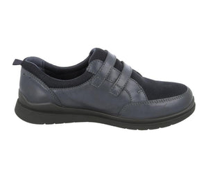 EasyB 78722N Orla Navy Womens Casual Comfort Leather/Mesh Wide Fit Comfort Shoes