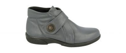 EasyB 79346E Doris Dark Grey (4E) Womens Casual Comfort Leather Ankle Boots