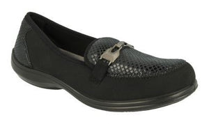 EasyB 10006A Black/Snake Womens Elasticated Casual Comfort Loafers
