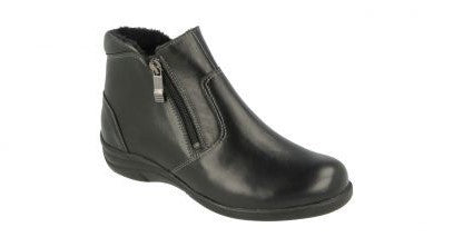 EasyB 68163A Black Leather Womens Casual Comfort Wide Fit Ankle Boots