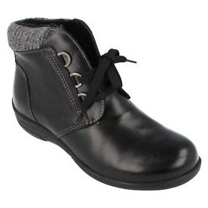 EasyB 68164A Black Womens Casual Comfort Wide Fit Ankle Boots