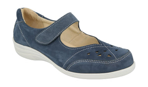 EasyB 68170N Navy Nubuck (EV) Womens Wide Fit Casual Mary Janes