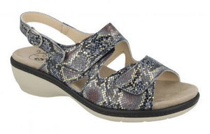 EasyB 78785N Birkin Navy Reptile (2V) Womens Casual Comfort Leather Sandals