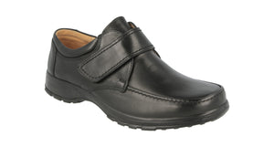 EasyB 87053A Norman Black Mens Casual Comfort Leather Wide Fit 2E Fitting Shoes