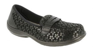 EasyB 78753A Cooper Black (2V) Womens Casual Comfort Stretch Loafers