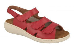 EasyB 68187R Mona Red (EV) Womens Casual Comfort Wide Fit Leather Sandals