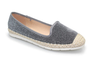 Lunar Fly117 Nevis Pewter Women's Slip On Glitter Silk Pumps Shoes