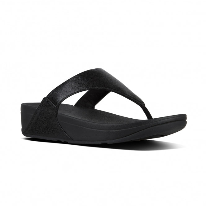 FitFlop Lulu Black Womens Casual Comfort Leather Slip On Toe Post Sandals