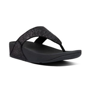 Fitflop Lulu Glitter Black Womens Casual Comfort Slip On Toe Post Sandals