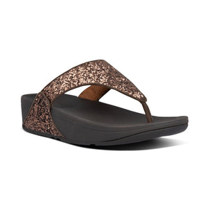 Fitflop Lulu Glitter Chocolate Womens Casual Comfort Slip On Toe Post Sandals