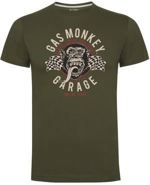 Gas Monkey Garage Green Twin Flags T-Shirts