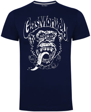 Gas Monkey Garage Navy Distressed Monkey T-Shirts