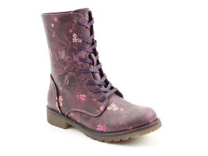 Heavenly Feet Chloe2 Purple Floral Womens Casual Vegan Friendly High Ankle Boots