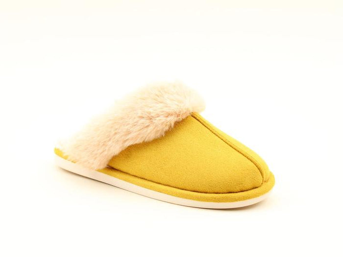 Heavenly Feet Fireside Mustard Womens Casual Comfort Slip On Mule Slippers