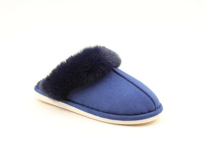 Heavenly Feet Fireside Navy Womens Casual Comfort Slip On Mule Slippers