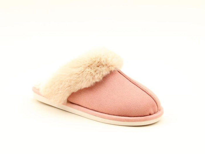 Heavenly Feet Fireside Pink Womens Casual Comfort Slip On Mule Slippers