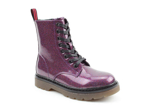 Heavenly Feet Justina Purple Glitter Womens Casual Comfort Lace Up Boots