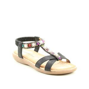Heavenly Feet Amber Black Womens Casual Comfort Sandals