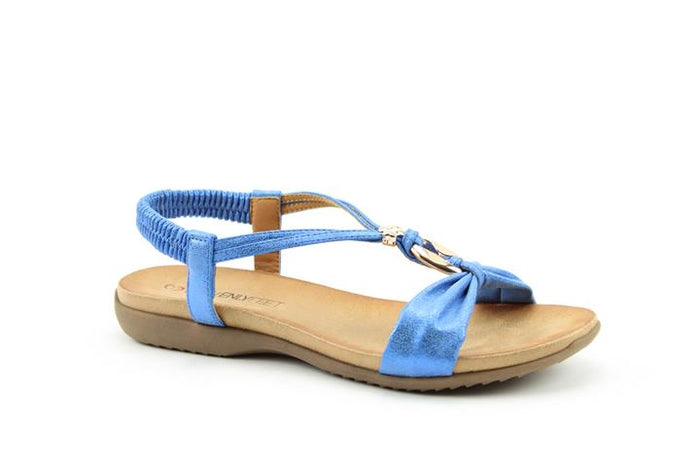 Heavenly Feet Campari Blue Women's Casual Lightweight Open Toe Jewel Sandals