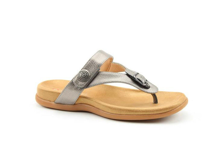 Heavenly Feet Candy Pewter Womens Casual Comfort Touch Fastening Sandals