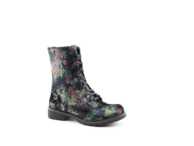 Heavenly Feet Chloe Floral Womens Casual Vegan Friendly High Ankle Boots