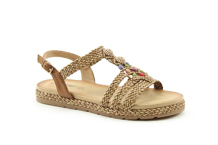 Heavenly Feet Coco Taupe Womens Casual Comfort Slingback Sandals