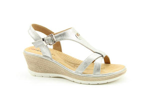 Heavenly Feet Coral White/Silver Womens Casual Comfort Slingback Sandals