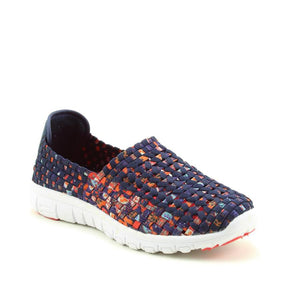 Heavenly Feet Cosmos Navy Multi Womens Casual Comfort Stylish Woven Shoes